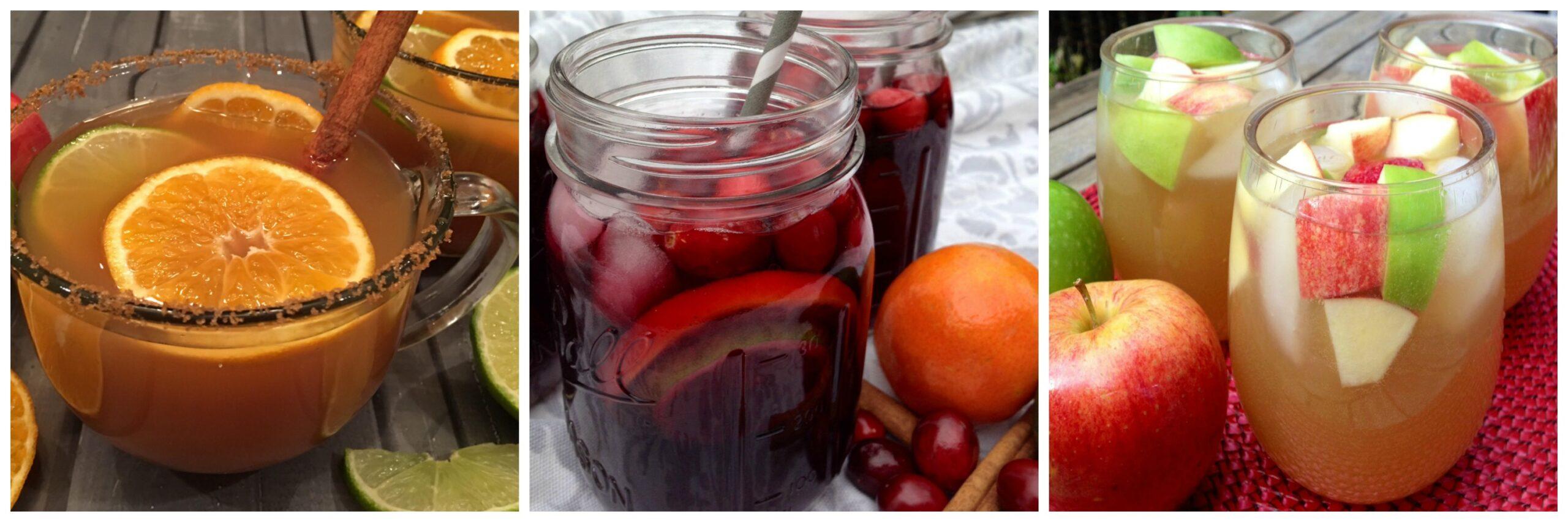 Left to Right: Mulled Apple Cider; Cranberry Sangria; Apple Cider Sangria