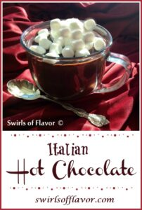 Italian hot chocolate with mini marshmallows in a clear mug with text overlay