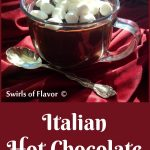 Italian hot chocolate in a mug with mini marshmallows and text overlay