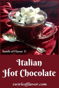 Italian hot chocolate in a mug with mini marshmallows and text overlay