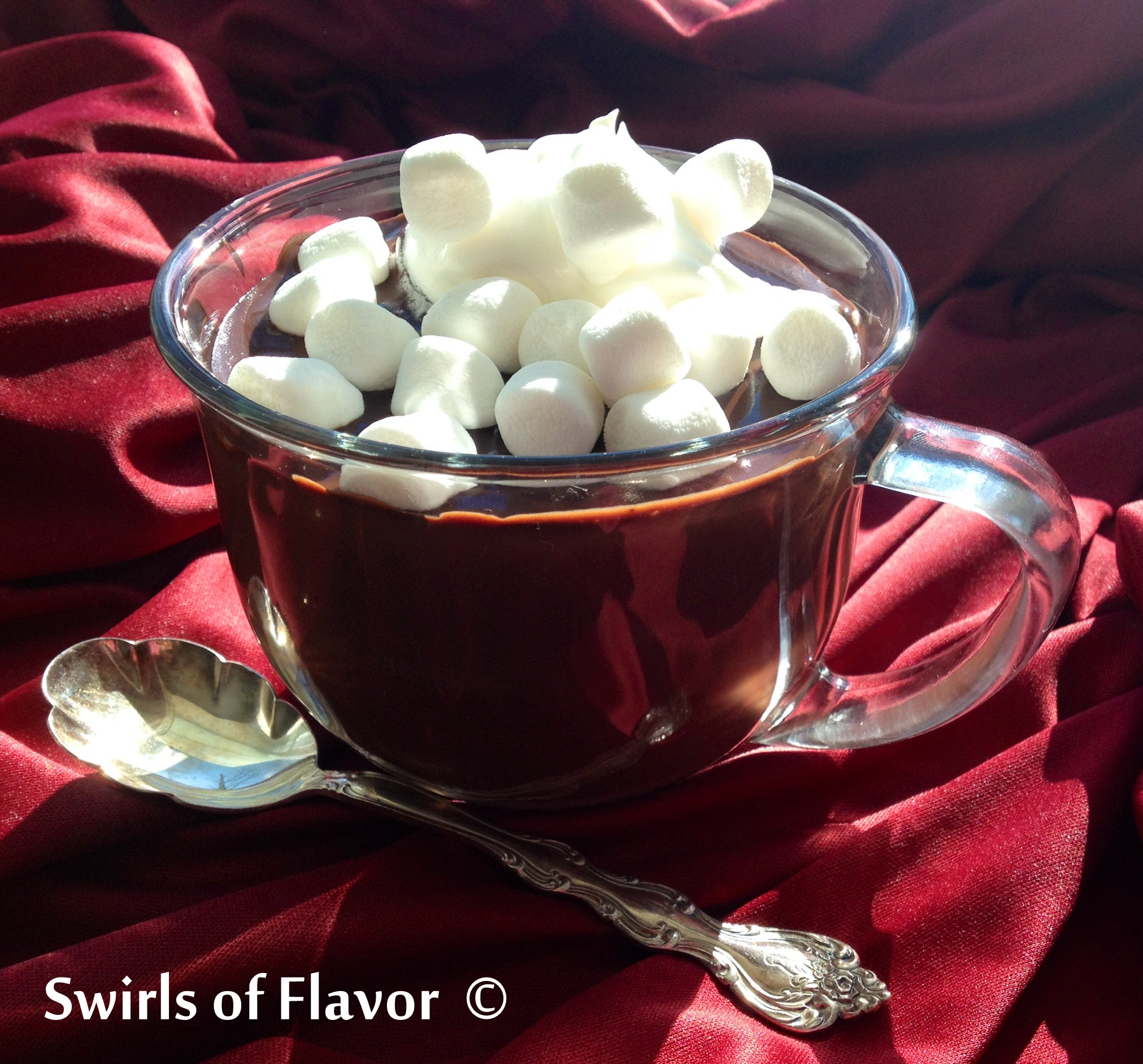 "Italian Hot Chocolate is an easy recipe for the hot chocolate served in Italy, a rich chocolate that is thick, creamy and silky smooth. You'll need a spoon to ""drink"" this hot chocolate and it's so decadent you can even call it a dessert! #hotchocolate #homemade #drink #warmdrink #drinkrecipe #sweetdrink #winter #swirlsofflavor"