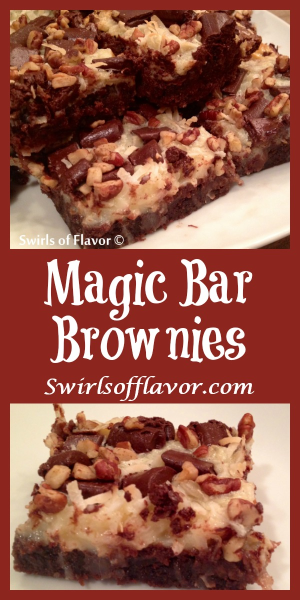Magic Bar Brownies are intensely chocolate brownies from a mix topped with coconut, chocolate chunks and pecans that bake in a sweetened condensed milk layer. An easy dessert recipe for weeknight treats or entertaining! #swirlsofflavor | brownie mix | dessert | fun for kids | easy recipe