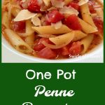 One Pot Penne Pomodoro is an easy recipe for pasta that's flavored in a light buttery tomato broth with garlic, onion and lots of tomatoes. As the penne cooks it forms it's own sauce, all in one pot! Perfect for Meatless Monday.