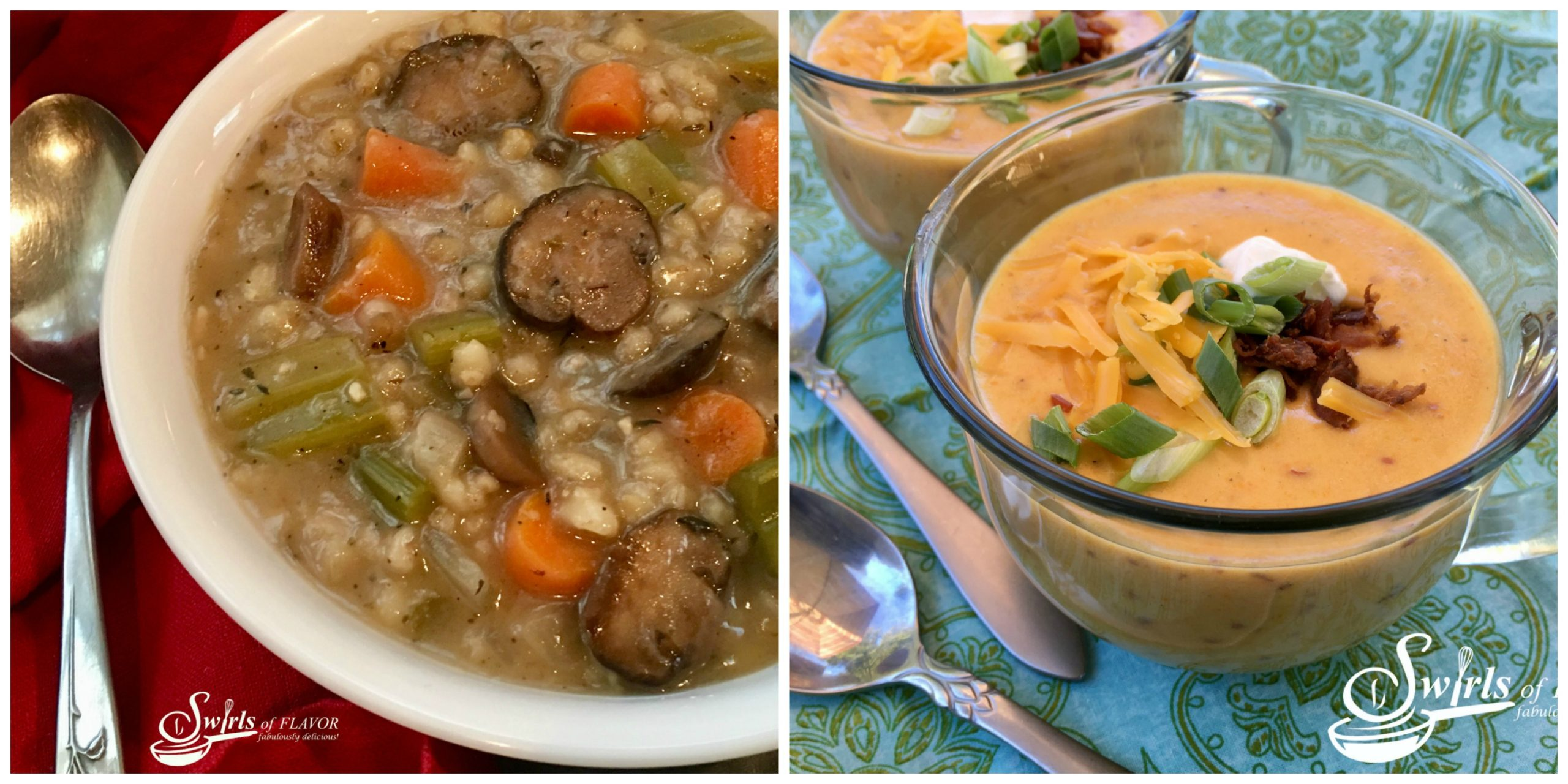 Mushroom Barley Soup and Cheddar Potato Soup