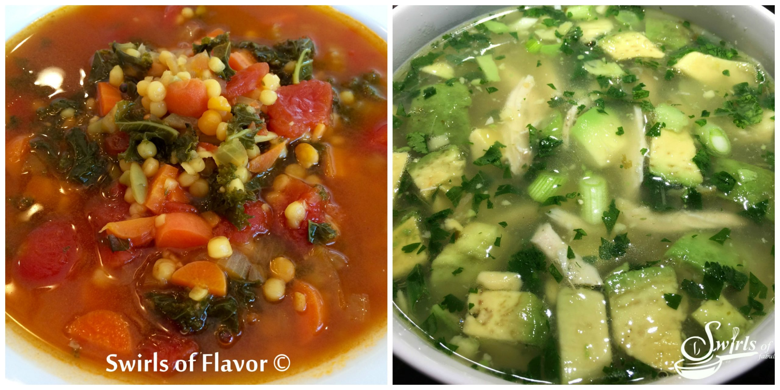 Quinoa Lentil Broth Bowl and Avocado Lime Chicken Soup