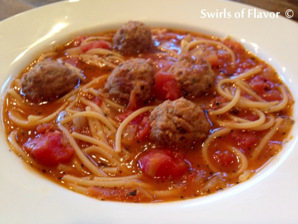 Spaghetti & Meatball Soup - Swirls of Flavor