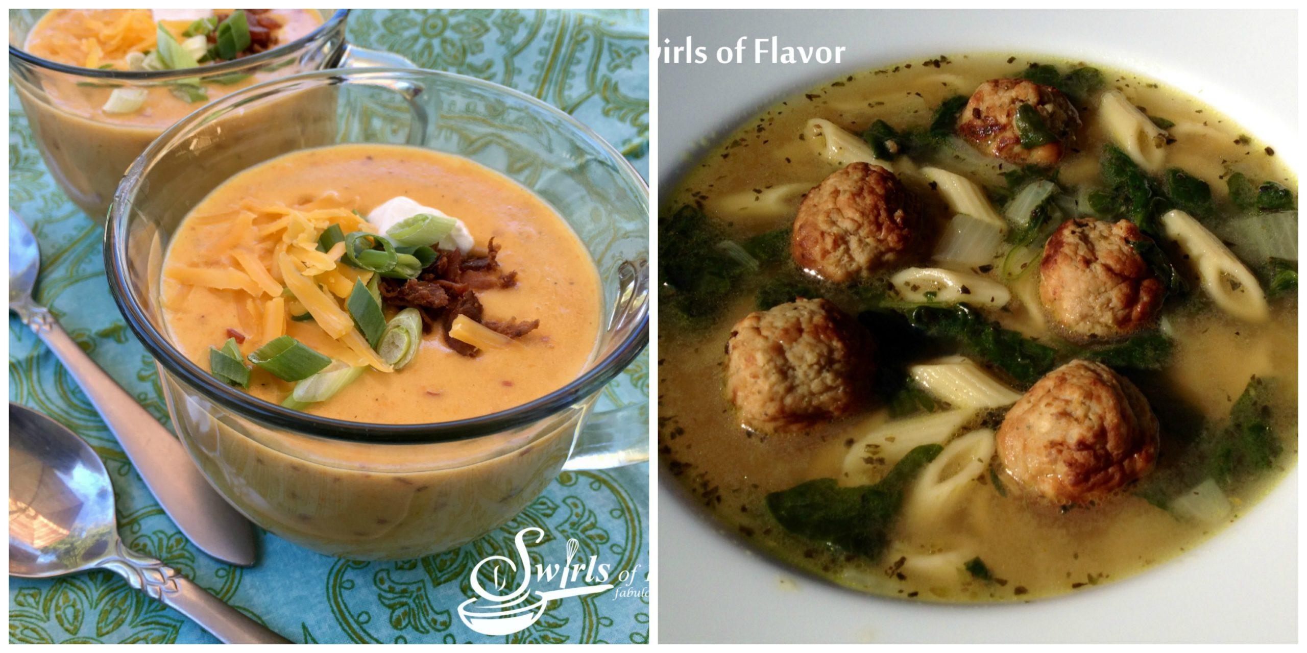 Potato Soup and Italian Wedding Soup