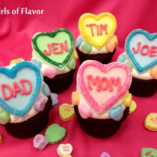 Personalized Conversation Heart Cupcakes will make the people you treasure most feel truly loved this Valentine's Day! conversation hearts | cupcakes | Valentine's Day | easy | hearts | fondant | cupcakes | fun for kids