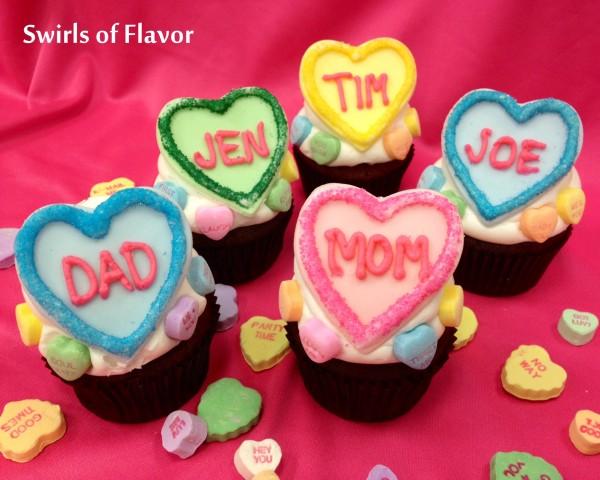 Conversation Hearts Cupcakes 1