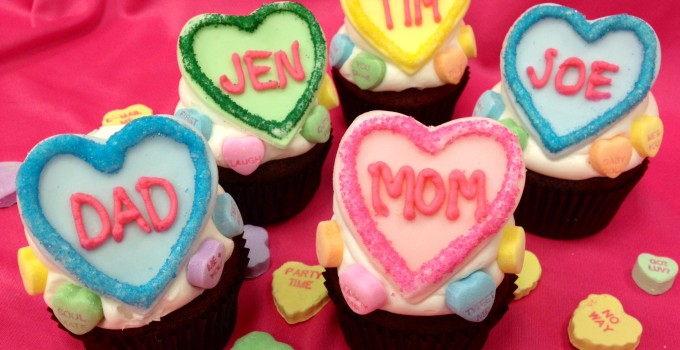 Personalized Conversation Heart Cupcakes
