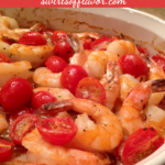 garlic shrimp in baking dish with text overlay