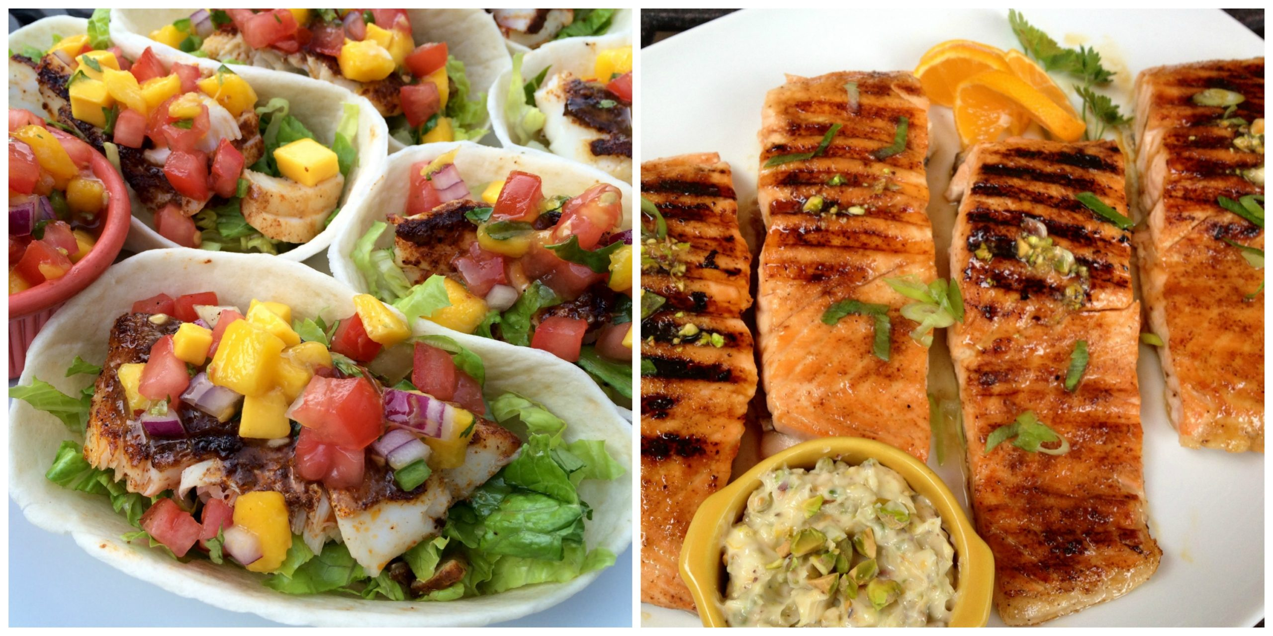 Fish Tacos and Grilled Salmon