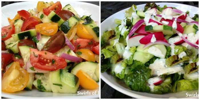 Tomato cucumber Salad and Grilled Romaine Salad