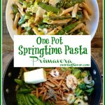 Pasta primavera in a bowl after cooking and in a pot before cooking Pinterest image