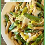 Springtime pasta in a bowl pinterest image