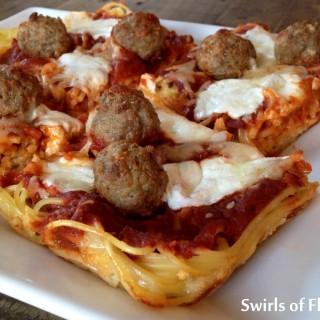 Deep Dish Spaghetti and Meatballs Pizza