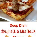 Deep Dish Spaghetti and Meatballs Pizza is a twist on the traditional spaghetti and meatballs dinner. Spaghetti is your pizza crust and meatballs are your topping along with cheese and sauce. A fun dinner, snack or appetizer. #spaghetti #spaghettiandmeatballs #pizza #spaghettipizza #deepdishpizza #homemadepizza #funforkids #easyrecipe #appetizer #dinner #movienight #snack #swirlsofflavor