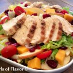 chicken salad with sliced apples, cranberries and cheddar cheese