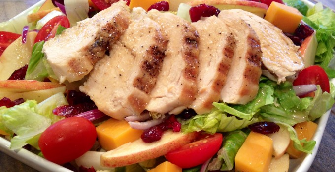 Apple Cheddar Chicken Salad with Maple Balsamic Vinaigrette
