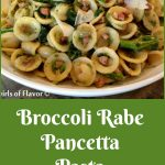 Broccoli Rabe with pasta in a white bowl