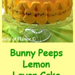 Bunny Peeps Lemon Layer Cake is a luscious lemon cake easily made from a mix, topped with a homemade creamy lemon frosting. The perfect Easter dessert and table centerpiece! Easter | dessert | cake mix | easy | recipe | peeps | candy Easter eggs