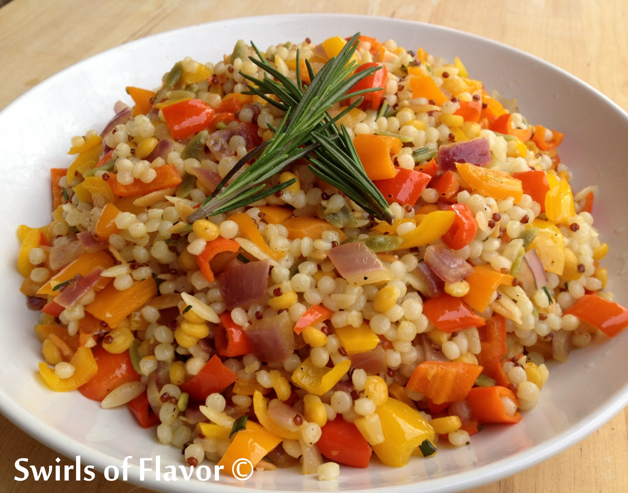 couscous with vegetables and fresh rosemary