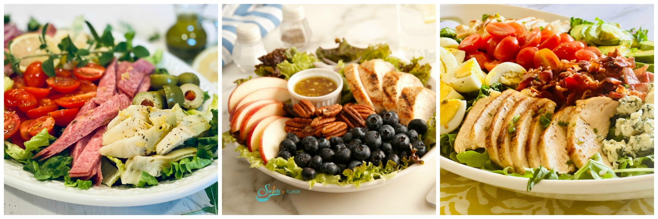 Left to Right: Chopped Italian Salad; Pecan Apple Chicken Salad; Cobb Salad