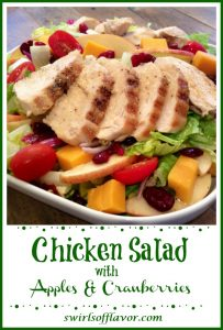 chicken salad with apples and text overlay