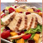 chicken and apples in a salad with text overlay