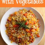 couscous with vegetables with text overlay
