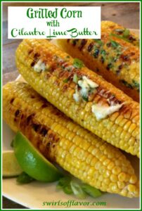 Six corn on the cob with cilantro lime butter