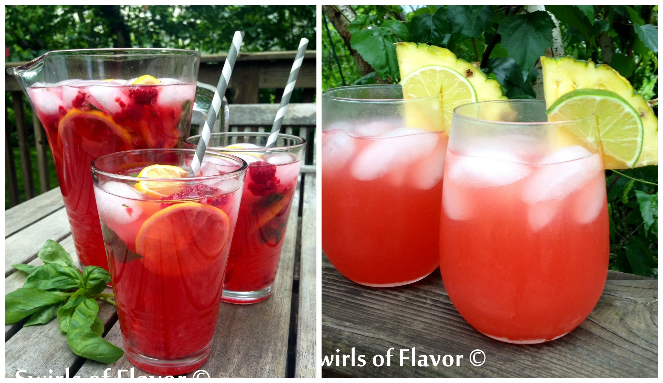 Raspberry Basil Lemonade and Caribbean Sunset