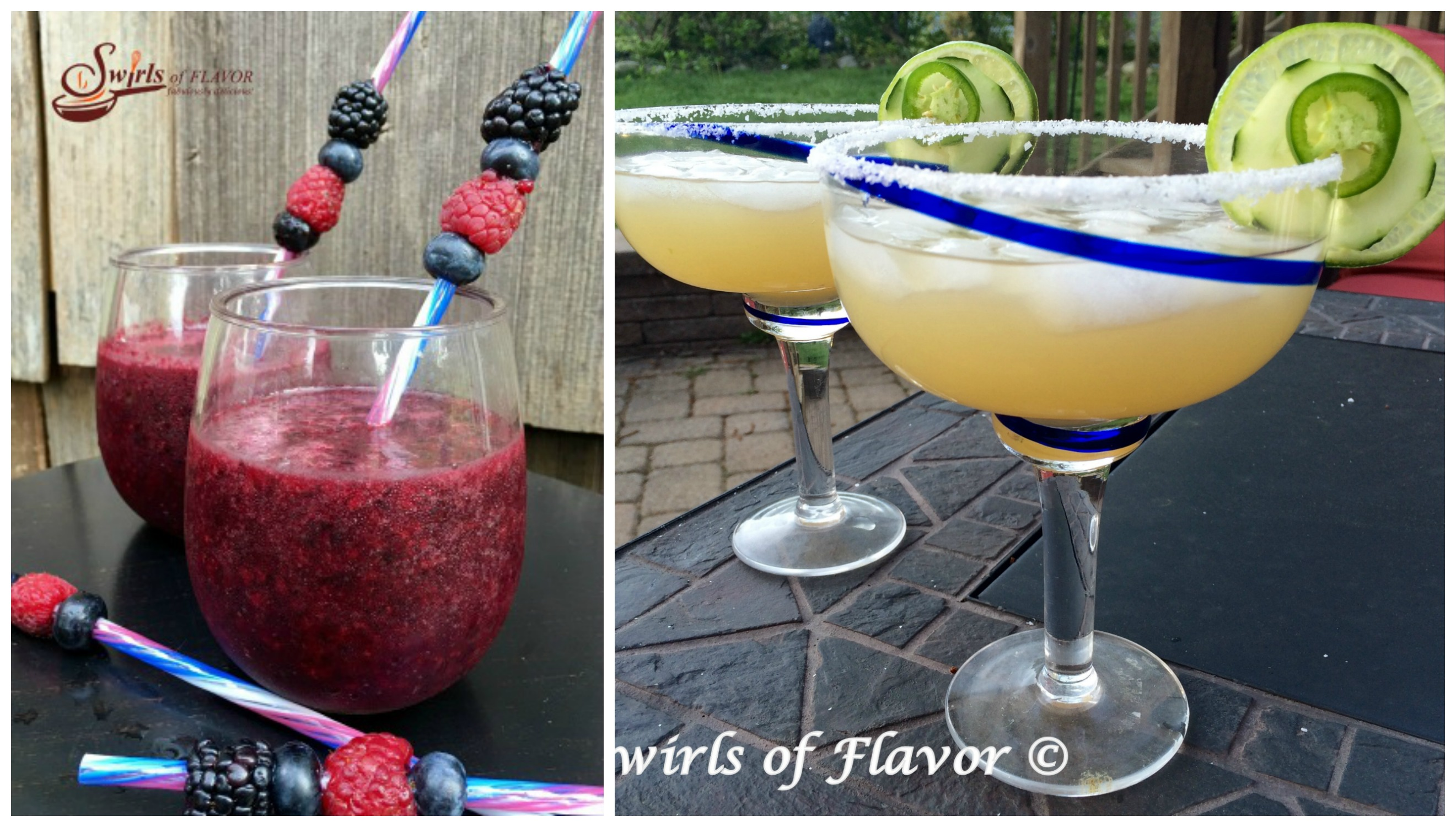 Berry Slushy and Jalapeno Cucumber Margarita