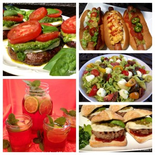 Memorial Day or any day will be fabulously delicious with this Trio of Hot Dogs, Grilled Portobello Mushrooms with Pesto, Pasta Salad, Pesto Provolone Burgers and Pomegranate Lime Mint Julep Punch! Memorial Day | barbecue | hot dogs | pasta salad | pesto | vegetarian | punch | Mint Julep | burgers