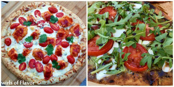 Buffalo Chicken Pizza and Pesto Naan Pizza