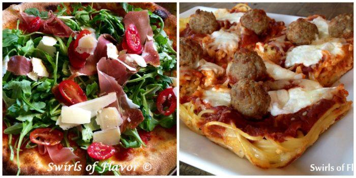 Prosciutto Arugula Pizza and spaghetti and Meatballs pizza