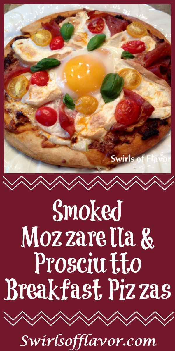 Smoked Mozzarella & Prosciutto Breakfast Pizzas are made with store bought pizza crusts topped with pesto, prosciutto, smoked mozzarella and tomatoes, then with an egg. and baked in the oven! easy recipe | baked pizza | breakfast | Mother's Day | fun for kids | store bought pizza crust | #swirlsofflavor