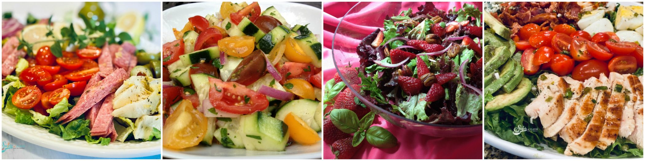 Left to Right: Italian Chopped Salad; Heirloom Tomato Cucumber Salad; Strawberry Baby Greens Salad; Cobb Salad