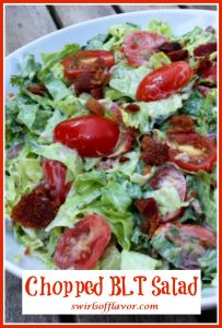 Chopped BLT Salad in white bowl with text overlay