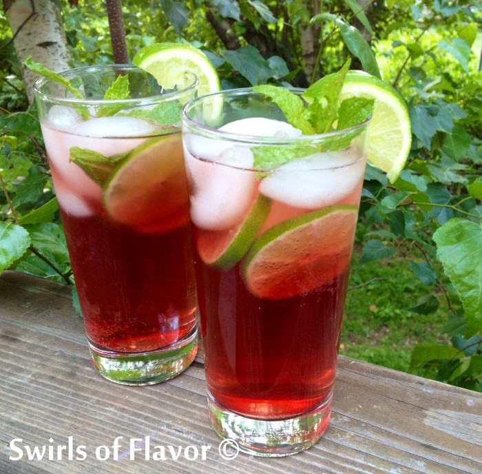 Pomegranate Mojito is an easy drink recipe for the classic mojito but with a twist of added pomegranate juice for a flavorful cocktail! #drinks #cocktails #mojito #easyrecipe #summerdrink #happyhour #rum #rumcocktail #swirlsofflavor