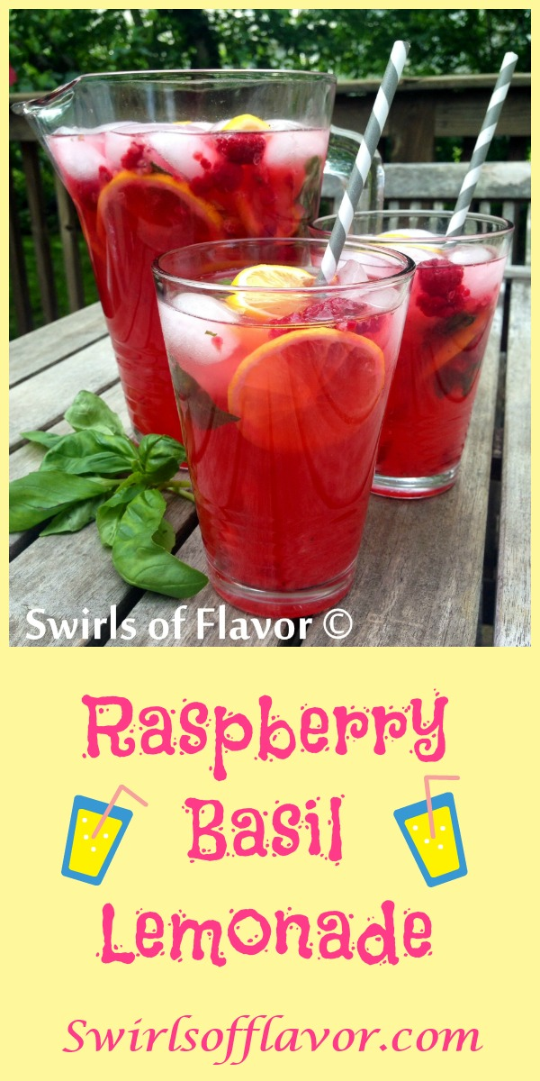 Raspberry Basil Lemonade is bursting with the summertime flavors of lemonade, fresh raspberries, fragrant basil leaves and a splash of vodka! An easy recipe for happy hour on a warm summer evening, picnic or barbecue! vodka | drinks | cocktails | raspberry | basil  lemonade | #swirlsofflavor