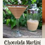 chocolate martini with cocktail shaker and text overlay