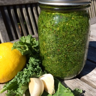 Kale Pesto combines the trendy super food kale with toasted almonds and a hint of lemon to make an amazingly delicious, healthy, easy pesto recipe! Toss it with your favorite pasta for Meatless Monday, top chicken or fish, serve with vegetables......the possibilities are endless!