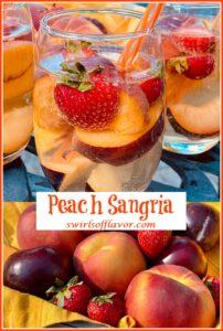 peach sangria and basket of fresh fruit