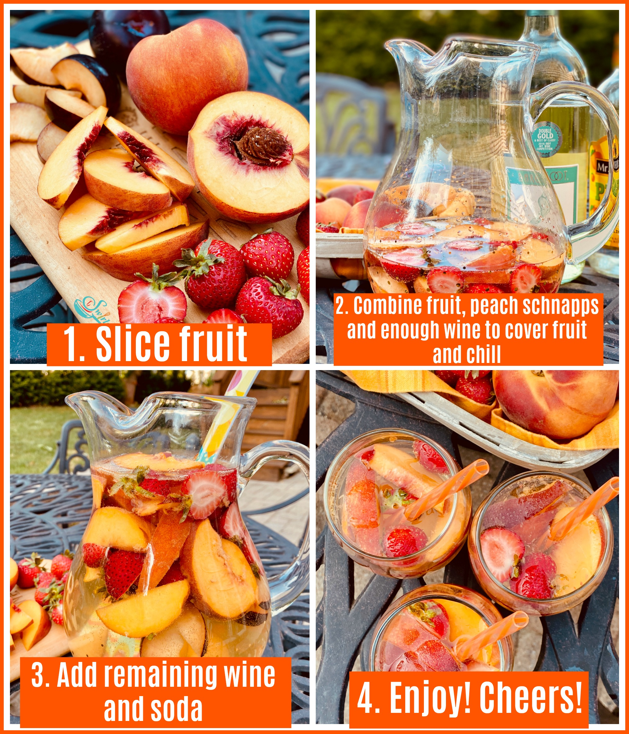 4 steps to make Peach Sangria
