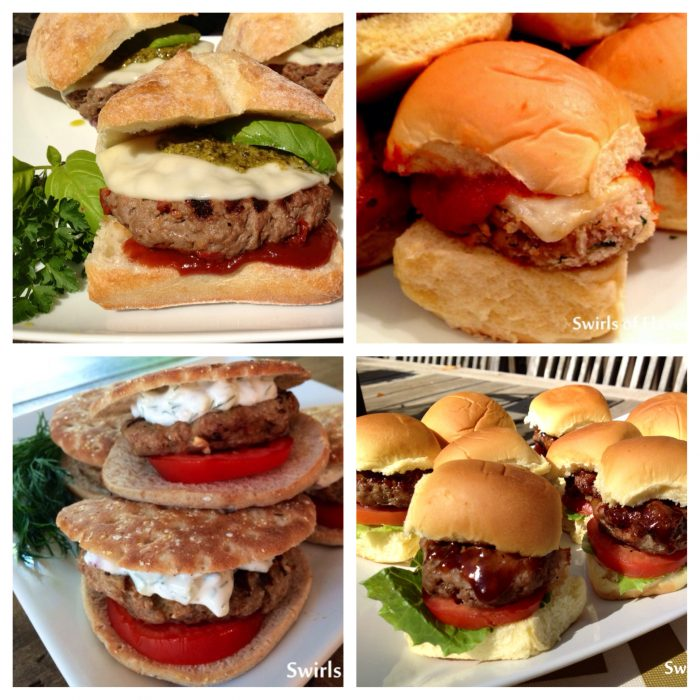 Time to change it up from grilling up just a plain burger? Look no further for delicious twists on the beloved hamburger. Chicken Parmesan Sliders, Bourbon Bacon Sliders, Turkey Burgers With Tzatziki Sauce and Pesto Provolone Burgers will be the hit at your next barbecue! burgers | turkey burgers | sliders | chicken burgers | cheese | grilling | barbecue