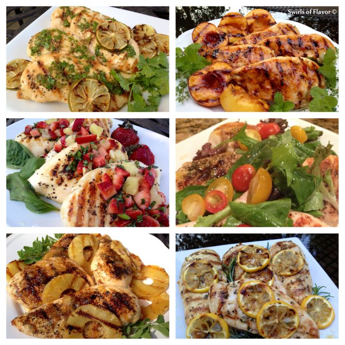 These grilled chicken recipes will be a hit at your outdoor get togethers! Check out these six ways to grill boneless skinless chicken breasts! grilling | chicken | barbecue | salsa | peaches | strawberry | lemon