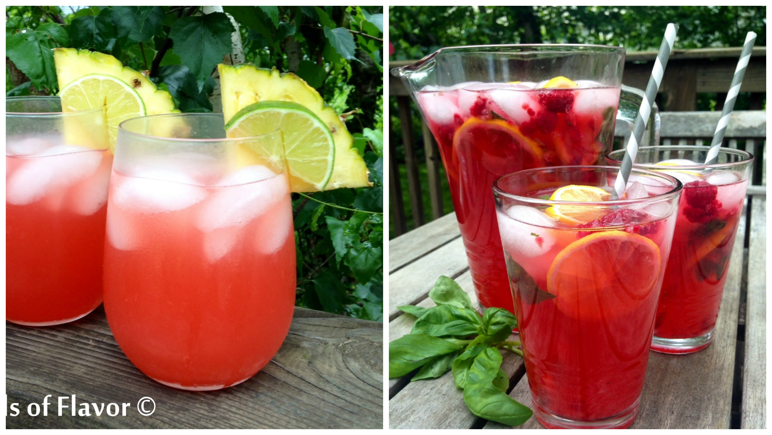 Caribbean sunset cocktail and Rspberry Basil Lemonade Punch