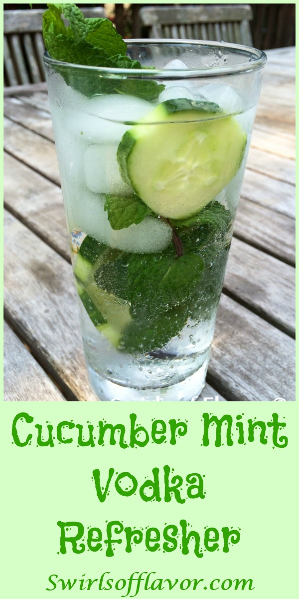 The clean taste of cucumber partnered with the burst of cool flavor from fresh mint and a splash of vodka in this Cucumber Mint Vodka Refresher will certainly cool you off! Perfect for Happy Hour on a warm summer evening or beach or poolside!  vodka | cocktail | drink | summer | cucumber | mint | happy hour | easy recipe | #swirlsofflavor