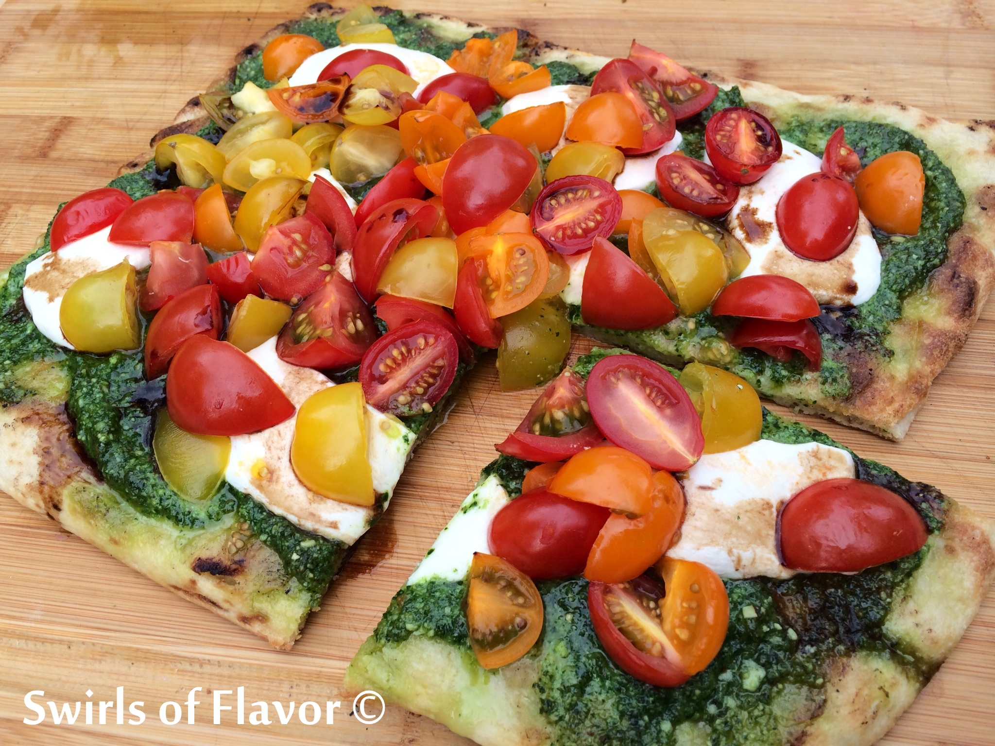Grilled Heirloom Cherry Tomato Pesto Pizza